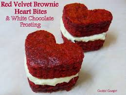 red velvet brownie heart bites with white chocolate frosting