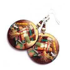 decoupage earrings book earrings decoupage brown faced on luulla