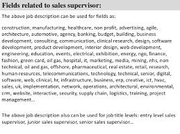 Sales Supervisor Job Description Resume by Sales Supervisor Job Description