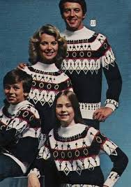 family apres ski in 1970 cause matching sweaters are always