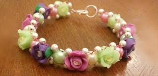 flower beads bracelet images How to make vintage beaded flower bracelet with clay beads and jpg