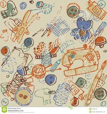 retro seamless pattern with vintage objects stock vector image
