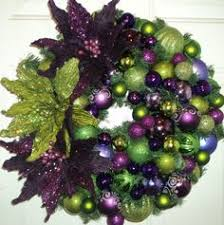 wreath in purple and lime green by pinklimewreaths