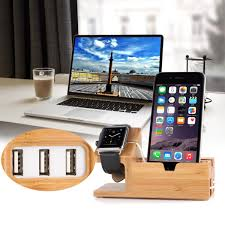 bamboo desktop usb charging docking station holder stand for apple