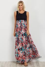 chiffon maxi dress black lace pleated floral chiffon maternity maxi dress