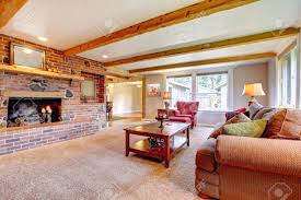 Living Room Designs With Red Brick Fireplace Living Room Interior With Brick Fireplace Wood Beams And Red