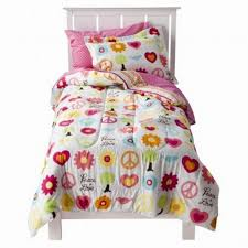 girls bed comforters amazon com circo full bed in a bag peace sign comforter set
