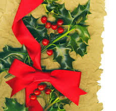 christmas background with holly and red bow royalty free stock
