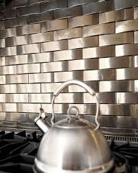 Solid Bronze Tile Backsplash Over Stove Traditional Kitchen - Bronze backsplash tiles