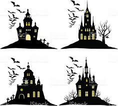 Halloween Bat Silhouette Set Of Halloween Castle With Bats Black Silhouette On Hill Stock