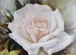 buy white rose oil painting on livemaster online shop