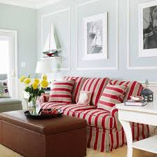 The Red Sofa Love The Red Stripes On The Couch Neutral Walls Nautical Themed