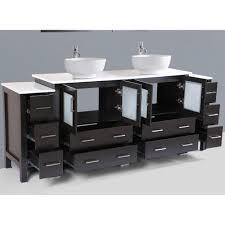 84 Inch Double Sink Bathroom Vanity Contemporary 84 Inch Espresso Finish Round Vessel Sink Bathroom