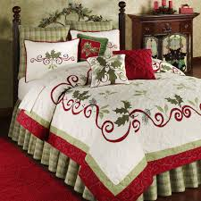 shabby chic white quilt holiday garland holly quilt bedding garlands christmas bedding