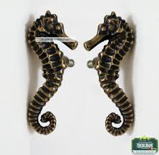 set of pair left right side solid brass sea horse cabinet brass