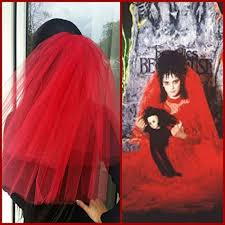 lydia deetz costume party veil 2 tier costume