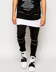 Upholstery Zips Criminal Damage Skinny Joggers With Zips In Black For Men Lyst