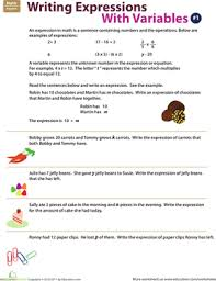 writing expressions with variables 1 worksheet education com