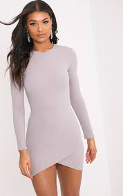 grey bodycon dress idda dove grey sleeve wrap skirt bodycon dress dresses
