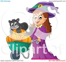 cute halloween cat cartoon of a cute halloween witch pushing a black cat and