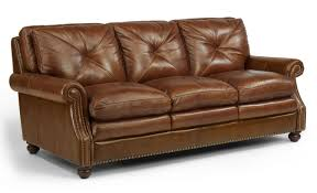 Flexsteel Leather Sofa Flexsteel Latitudes Suffolk Leather Stationary Sofa With Nailhead