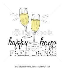 clipart vector of bar happy hour promotion sign design template
