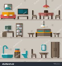 House Flat Design by Furniture Icon Set Rooms House Flat Stock Vector 239054035