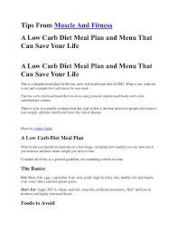 a low carb diet meal plan and menu that can save your life by muscle u2026
