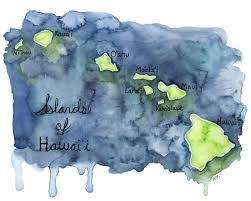 Map Hawaii Watercolor Hawaiian Islands Print Painting Titled