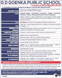 Kindergarten Teacher Assistant Job Description Jobs In G D Goenka Public Vacancies In G D Goenka Public