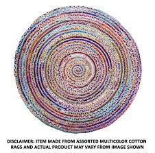 5ft Round Rug by Amazon Com Cotton Craft Jute U0026 Cotton Multi Chindi Braid Rug