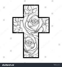 vector drawing latin cross dotted rose stock vector 536718850