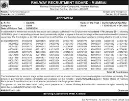 exam pattern of goods guard rrb exam papers rrb mumbai ecrc goods guard result exam held on
