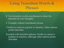 transitions in your essay ppt