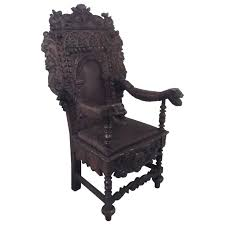 Throne Style Chair English Oak And Leather Hand Carved Throne Chair For Sale At 1stdibs