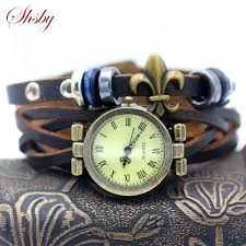 vintage leather bracelet watches images Shsby new unisex roma vintage watch real leather strap bracelet jpg