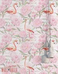 wallpaper with pink flamingos flamingo vintage flowers wallpaper removable wallpaper