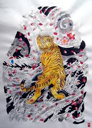 japanese tiger and cherry blossoms sleeve japanese