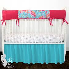 lilly flamingo blue pink baby crib bedding
