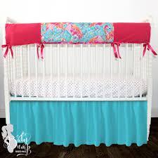 Baby Girl Nursery Bedding Set by Lilly Flamingo Blue Pink Baby Girl Crib Bedding