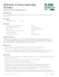 Resume Activity Alchemy A Cross Curricular Activity Copper Silver And Gold