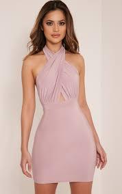 marisa mauve cross front mini dress image 1 new dresses