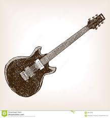 sketch electric guitar musical instrument stock illustration