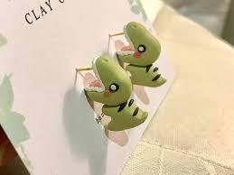 dinosaur earrings dinosaur bite earrings