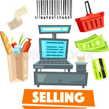 Supermarket Cash Desk Shop Vector Icons And Retail Selling Items Set Of Cash Desk