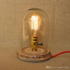 Wooden Table Lamp Handmade Wooden Lamp With Clear Glass Shade Edison Bulb Lamps