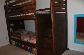 Plans For Bunk Bed With Stairs by Ana White Bunkbed With Bookshelves Stairs And Storage Bins