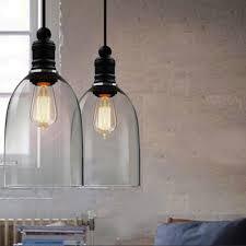 Black Glass Pendant Light by Vintage Industrial Copper Retro Glass Bigclock Ceiling Lamp