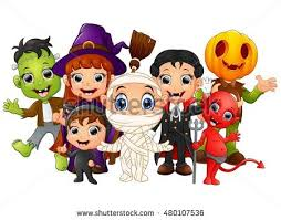 halloween kids costumes witch frankenstein dracula stock vector