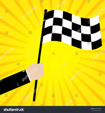 Flag Yellow Sun Businessman Hold Race Finish Flag On Stock Vector 354570089